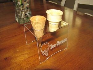 Engraved Acrylic Double Ice Cream Cone Holder Tray Display Stand Rack Wedding