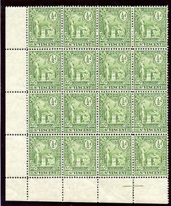 St Vincent 1907 KEVII ½d green block of 16 superb MNH. SG 94. Sc 90.