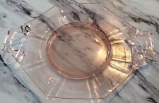 Pink Indiana Glass Vaseline Depression Ware Small Handled Plate Mint