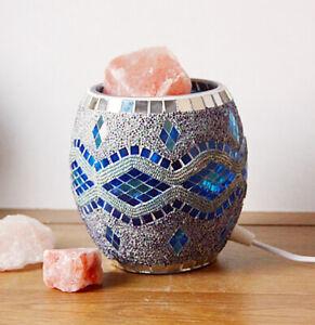 Himalayan Glass Jar Salt Lamp - Blue Silver
