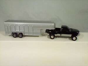 Ertl Black Ford Dually and Livestock Trailer