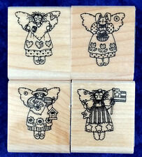 "Stampin' Up! Mini Angels Wood Mounted Rubber Stamp Set of Four 1-1/2"" x 1-3/4"""