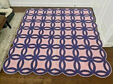 VTG Quilt Double Wedding Ring Blue Circles Pink Background 89x90
