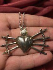 sacro cuore collana pendolo Vintage ex voto barocco cuore sette spade 6x 3 cm