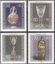 Germany 1986 Welfare Fund/Glassware/Glass/Vase/Bowl/Flask/Goblet 4v set (n21382)