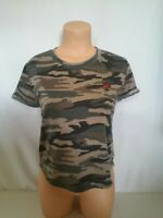 LA Hearts Distressed Camouflage Camo Short Sleeve Top Size Small