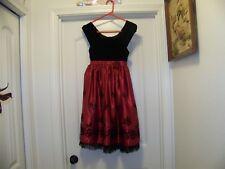 Jona Michelle Size 7 ~ Red Taffeta & Black Velvet Girls Special Occasion Dress