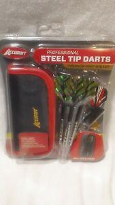 Accudart Professional Steel Tip Darts with Premium Dart Wallet Brand New