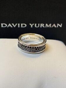 David Yurman Streamline Pave' Black Diamond 3-Row Band Ring Size 9.5Retail$2,950