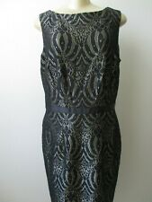 LUX II BLACK & GOLD LACE-UP FLORAL DESIGN SLEEVELESS DRESS SIZE 12