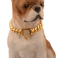 Pet Dog Collars Choke Gold Cuban Chain Dog Necklace Steel Zirconia Lock 14mm