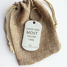 I Love You Gift, Handmade Leather Keyring for Boyfriend, Daughter, Mum, Birthday