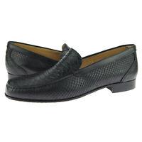 """Alex D """"Fargo"""" Venetian Loafer, Men's Slip-on Leather Shoes, Black Snake"""