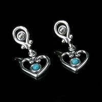 Sterling Silver Natural Turquoise Heart Dangle Earrings