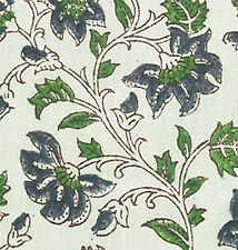 2½ Yards Hand Printed Cotton Block Print Blue Green Sheer Floral Fabric Sewing