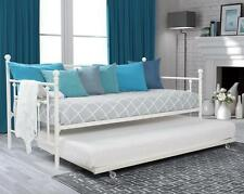 White Twin Daybed with Roll-out Trundle Metal Day Bed Sleeper Bedroom