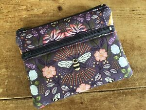 Handmade Coin Purse Credit Card 2 Compartment Queen Bee Bumble Bee Floral Fabric