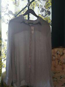 LOFT Women's Blouse Size XL Nwt Blue And White Pinstripe Long Sleeve