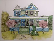 Blue Green Victorian House, art reproduction, artist, ink, realism, architecture