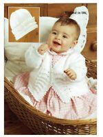 Pretty Baby girl Matinee coat, Bonnet knitting pattern DK. Pram set 0 - 12 month