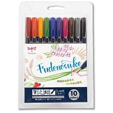 Tombow Fudenosuke 10 Colors Brush Pen Hard Tip WS-BH10C Water Based Pigment Ink