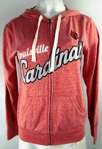 Louisville Cardinals MLB Women's Glitter Logo Full-zip Drawstring Hoodie