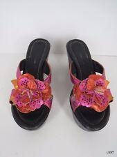 Donald Pliner Wedge Sandals Slide Size 9 Metallic Pink Leather Platform Flower
