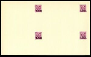 LOT 88722 UX82 UNCUT BLOCK OF 4 POSTAL STATIONERY CARD SURCHARGE KING GEORGE V1