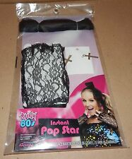 Halloween Adult Instant Pop Star Rockin 80's Accessory Bow Gloves Earrings 117H