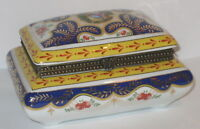 Deckeldose Schmuckdose Porzellan Dose im Jugendstil, mit Liebespaar, 13x10x7cm