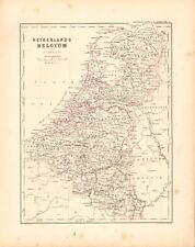 1868  ANTIQUE MAP -  NETHERLANDS AND BELGIUM AND LUXEMBOURG
