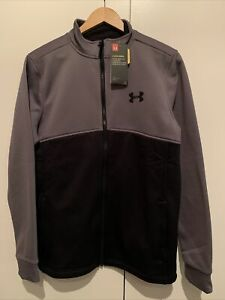 BNWT Under Armour Zip Fleece Top Jacket Size Medium NEW! Black/Grey