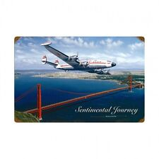 "TWA Lockheed Constellation Sentimental Journey Metal Sign 23 1/2"" x 15 1/2"""