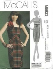 McCalls Sewing Pattern 5923, Fitted Square Neck Empire Dress Size 4-12+cups NEW