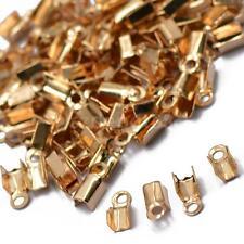 100x Rose Gold Chain End Clasp Crimp Cord Connectors Necklace ENDS TIPS CAPS