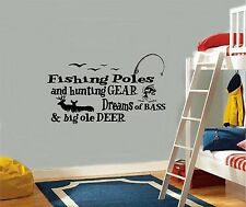 Fishing Poles and Hunting Gear - Wall or Widow Decal, Room Sticker