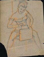 PETER DRIBEN Original 1940s Sexy Pin-Up Pencil Drawing GOOD GIRL ART vv