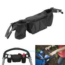Universal Kids Baby Stroller Pram Hanging Storage Bag Bottle Cup Holder Black