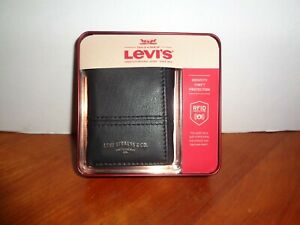LEVI'S Mens RFID Shield Security Trifold Leather Wallet Black with Zipper Pocket