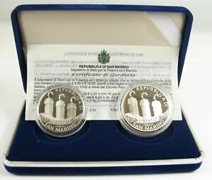 """San Marino 2002: 5 und 10 Euro """"Willkommen Euro - Euroeinführung"""" Silber PP"""