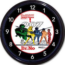 James Bond 007 Dr No Sean Connery Ian Fleming Movie poster Wall Clock spy film