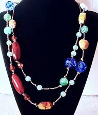 Long Necklace Jewel And Earth Tone Textured Acrylic Beads Strung On A Brown Rope