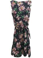 Ann Klein Women's Navy Blue Floral Tie Waist Sleeveless Dress Size 8 Spring