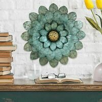 3D Metal Flower Wall Art Sculpture Indoor Rustic Industrial Accent Decor Blue
