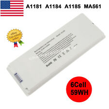"6 Cell Laptop Battery for Apple MacBook 13"" 13.3 inch A1181 A1185 / 60W Charger"