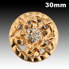 Vintage Gold Metal Ribbon Motif Button w/ Rhinestone 30mm 40022020