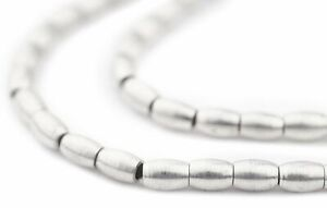 Smooth Oval Silver Spacer Beads 4mm White Metal 16 Inch Strand