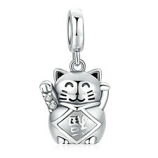 Genuine S925 STERLING SILVER LUCKY FORTUNE WAVING CAT Maneki Neko PENDANT CHARM