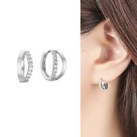 Solid 925 Sterling Silver Channel CZ Huggie Double Hoops Cuff Eternity Earrings