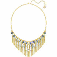 Swarovski Women's Necklace Gipsy Clear and Blue Crystals Gold Plated 5260592